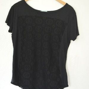 Maurices Lace Front Black T-shirt
